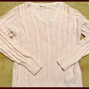 Women's Old Navy light pink cable knit sweater